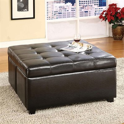 Leathrette Ottoman with 4 Drawers in Espresso Finish by Furniture of America