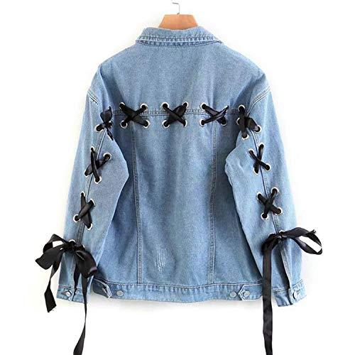 Lattice Giacca Monopetto Autunno Occhielli E Giacche Denim Cappotto Lace Oversize In Classic Spring Cappotti Blue Indietro Up Casual Donna gF0HZqH