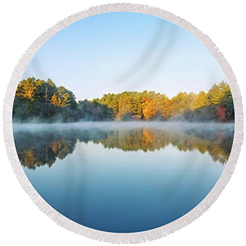 Pixels Round Beach Towel With Tassels featuring ''Mirror Lake'' by Scott Norris by Pixels