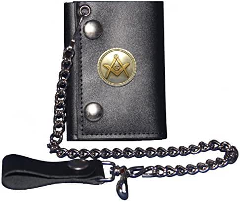 Custom Masonic Square and Compass Black Trifold Chain Wallet. MADE IN USA