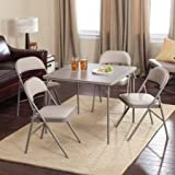 Folding Card Table Set,Double Padded Chair,Chicory Dune,5 Piece