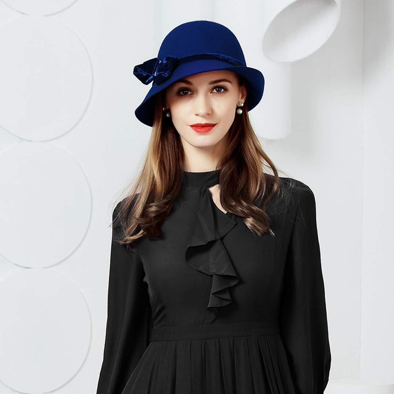 Women Fascinator Wool Pillbox Hats Wedding Bow Tea Party Church Kentucky Derby Hat