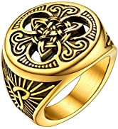 U7 Men Vintage Ring Enamel Black Stainless Steel Viking Triquetra Celtic Knot Signet Ring, Silver...