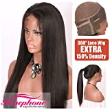 Persephone Light Yaki Straight 360 Lace Frontal Wig Pre Plucked With Baby Hair Brazilian Remy Human Hair Wigs For African American Women 150 Density 16 inch Natural Color