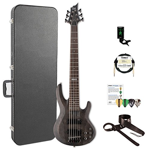 ESP LB206SMSTBLKS-KIT-2 B Series B-206SM 6-String Electric Bass Guitar, See Thru Black Satin by ESP