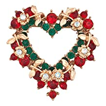 Charmed Craft Christmas Gifts Heart Red Green Crystal Brooch Pin Party Decoration Jewelry