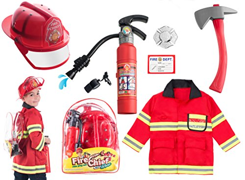 (8 PC) Premium Fireman Costume and accessories With Real Water Shooting Extinguisher and Knapsack by Born Toys (Child Fireman Costume)