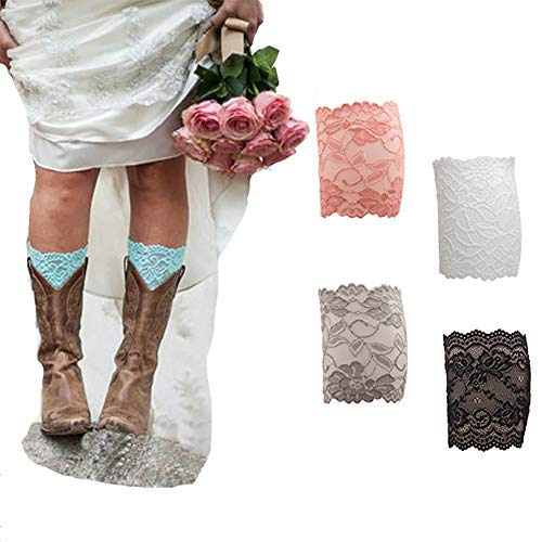 FAYBOX Women Lace Floral Boot Cuffs Leg Warmer Socks Pack of 4 Peach