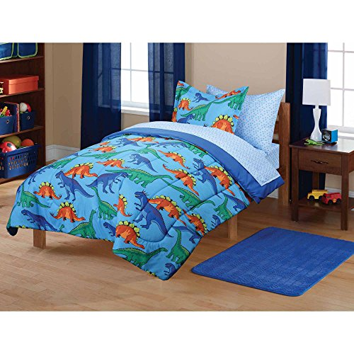 7 Piece Kids Dinosaur Themed Comforter Full Set, Featuring All Over Wild Animal Dino Bedding, Graphics Design, Brontosaurus, TRex Raptor, Stegosaurus Print, Vibrant Colors Blue Orange Green, For Boys by OS
