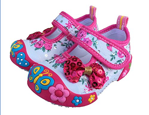 Chulis Infant Baby Girl Sneakers Shoes Size 2 First Walkers rossy (Pink Fuchsia) (Slip On Girls Shoes Size 2)