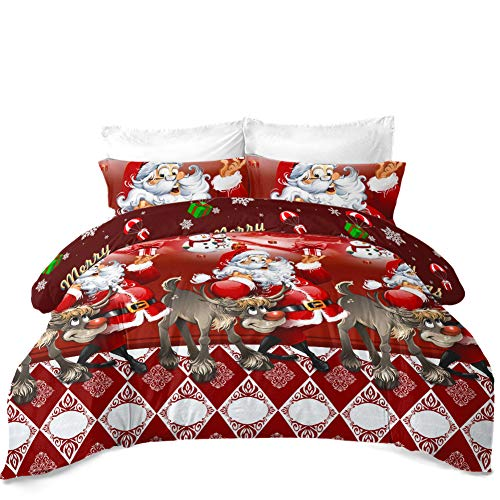 JSTextiles Christmas Bedding 4 Piece Duvet Cover Santa Claus Bedding Set Queen Size 90''x90'' Cute Quilt Cover for Girls/Boys Gift(NO Comforter)