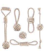 Angelland Jouet Chien en Coton Naturel Moelleux sûr Sain Balle Chien Accessoire Chien Lot de 6 de Jouets pour Chien