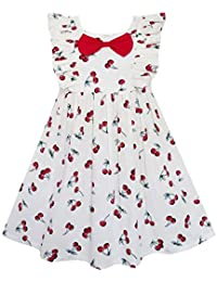 Sunny Fashion Girls Dress Bow Tie Cherry Fruit Overlap Design Red