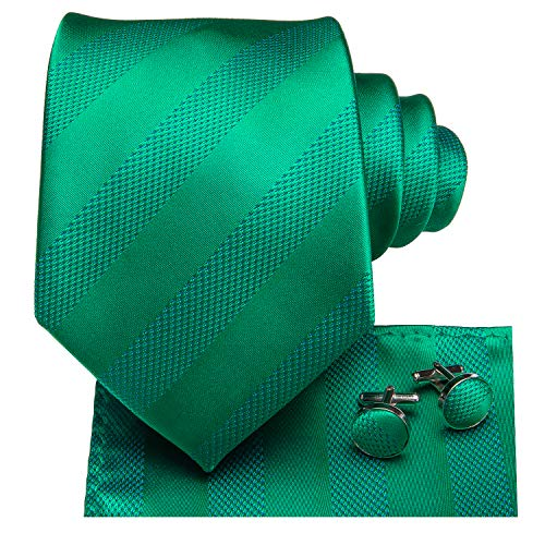 (Dubulle Mens Kelly Green Stripe Necktie with Cufflinks Pocket Square Solid Color Silk Tie Gift Set)