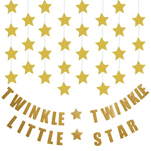 "KUNGYO Gold Glittery Twinkle Twinkle Little Star Garland Baby Shower Birthday Party Decorations (3-Pack:1 ""Twinkle Twinkle Little Star""+2Gold Star (Twinkle Birthday)"