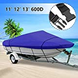 TeBaisea Waterproof Boat Cover – Pacific Blue/Gray Heavy-Duty Marine Grade Oxford Cloth Trailerable All Seasons Outdoor Fits V-Hull Runabout for 11-13′,14-16′,16-18',17-19′ Beam