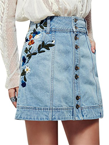 (Youtobin Women's Light Blue Slim Button Down Embroidered A-line Mini Denim Skirt (X-Large, Light Blue))