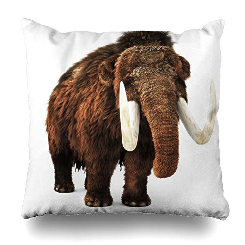 Ahawoso Throw Pillow Cover Ears Prehistoric Woolly Mammoth On White Ivory Rendering Nature Ice Age Enormous Giant Home Decor Cushion Case Square Size 20 x 20 Inches Zippered Pillowcase