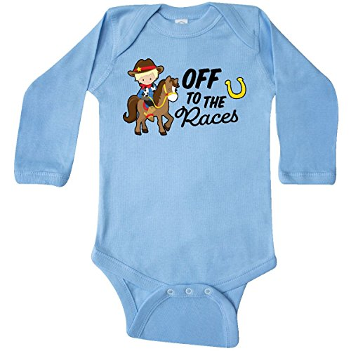 inktastic - Off to The Races with Long Sleeve Creeper 12 Months Light Blue 2ff44 - Long Boys Race Sleeve Infant