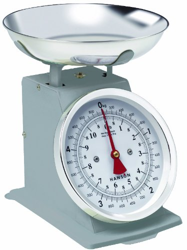 Hanson H500 5 Kg Traditional metal upright Scale with Stainless steel Bowl, Silver
