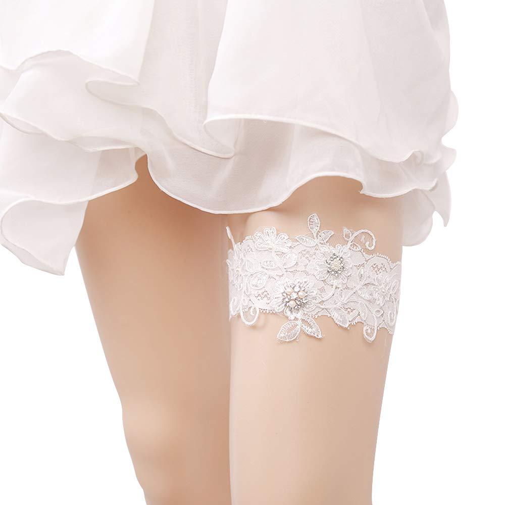 Senmor Giarrettiera da Sposa Vintage Set in Pizzo Bianco con Fiori di Chiffon Bianchi