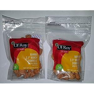 2-Pack Ol' Roy Munchy Dumbbells Chicken and Rawhide Dog Treats 5.9 oz. 28 Total Dumbbells (14-3.5 Dumbbells per Pack)