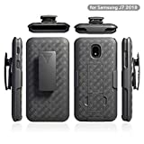 ZASE Belt Clip Holster Case for Samsung J7 2018, J7 REFINE, J7 AERO, J7 TOP, J7 STAR Tough Rugged Armor Slim Protective Black Case Defender Swivel Lock Kickstand (A Holster Combo Case)