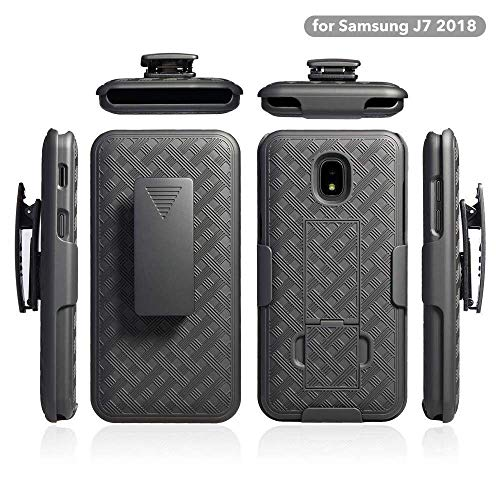ZASE Belt Clip Holster Case for Samsung J7 2018, J7 REFINE, J7 AERO, J7 TOP, J7 STAR Tough Rugged Armor Slim Protective Black Case Defender Swivel Lock Kickstand (A Holster ()
