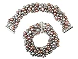 Striking Lilac/Silver Grey/Pink Baroque Cultured Pearl Six Strand Chunky 'Louisa' Bracelet With Silver Clasp
