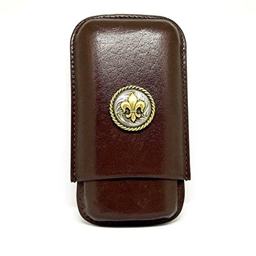 Fleur de Lis 3-Finger Cigar Case – Leather Cigar Case – Cigar Cutters by Jim