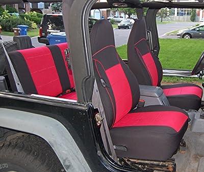 GEARFLAG Jeep Wrangler TJ Neoprene Seat Cover Full Set Custom fit 1997-02 (Front + Rear Set) (Red/Black)