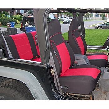 Jeep Wrangler Seat Covers >> Gearflag Neoprene Seat Cover Custom Fits Jeep Wrangler Tj 1997 02 Full Set Front Rear Set Red Black