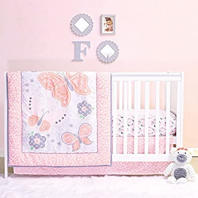 Mariposa 4 Piece Coral Pink Butterfly & Garden Baby Girl Crib Bedding Set by Belle