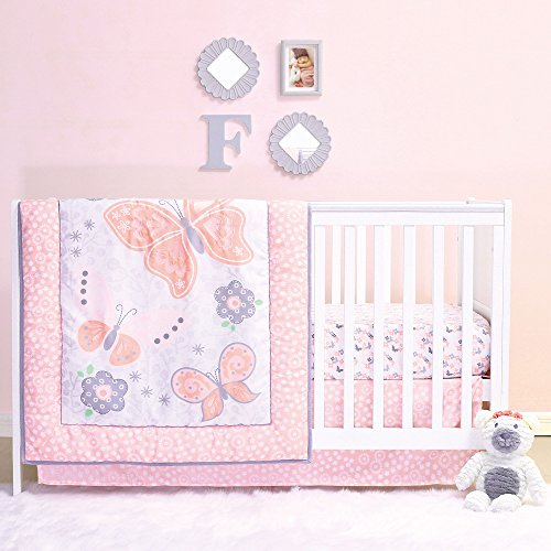 Oval Crib Set - Mariposa 4 Piece Coral Pink Butterfly & Garden Baby Girl Crib Bedding Set by Belle