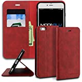 iPhone 6s Plus Case, ModeBlu [Magnetic Portfolio Case Series] [Red] Wallet Case ID Credit Card Cash Slots Premium Synthetic Leather [Stand View] for Apple iPhone 6s Plus & 6 Plus, 4.7 inch