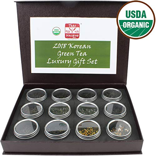 Teas Unique 2018 Korean Organic Green Tea Luxury Box, 12 Loose Leaf Teas, 84g ()