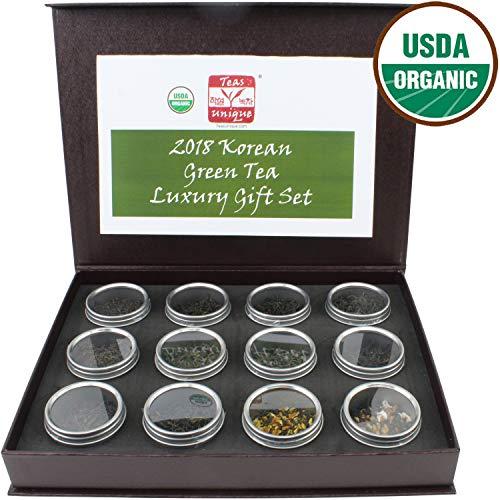Teas Unique 2018 Korean Organic Green Tea Luxury Box, 12 Loose Leaf Teas, 84g