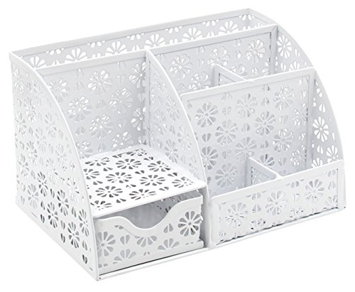 EasyPAG Desk Organizer Snow Shaped Pattern Desktop Accessories Caddy with Drawer,White by EasyPag