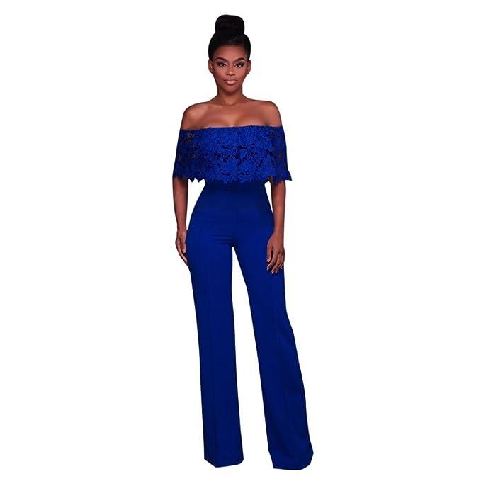 8ca1c6bb9e Amazon.com: Keepfit Lace Jumpsuit Wide Leg, Fashion Solid Off Shoulder Long  Pants Bodysuit Rompers: Clothing