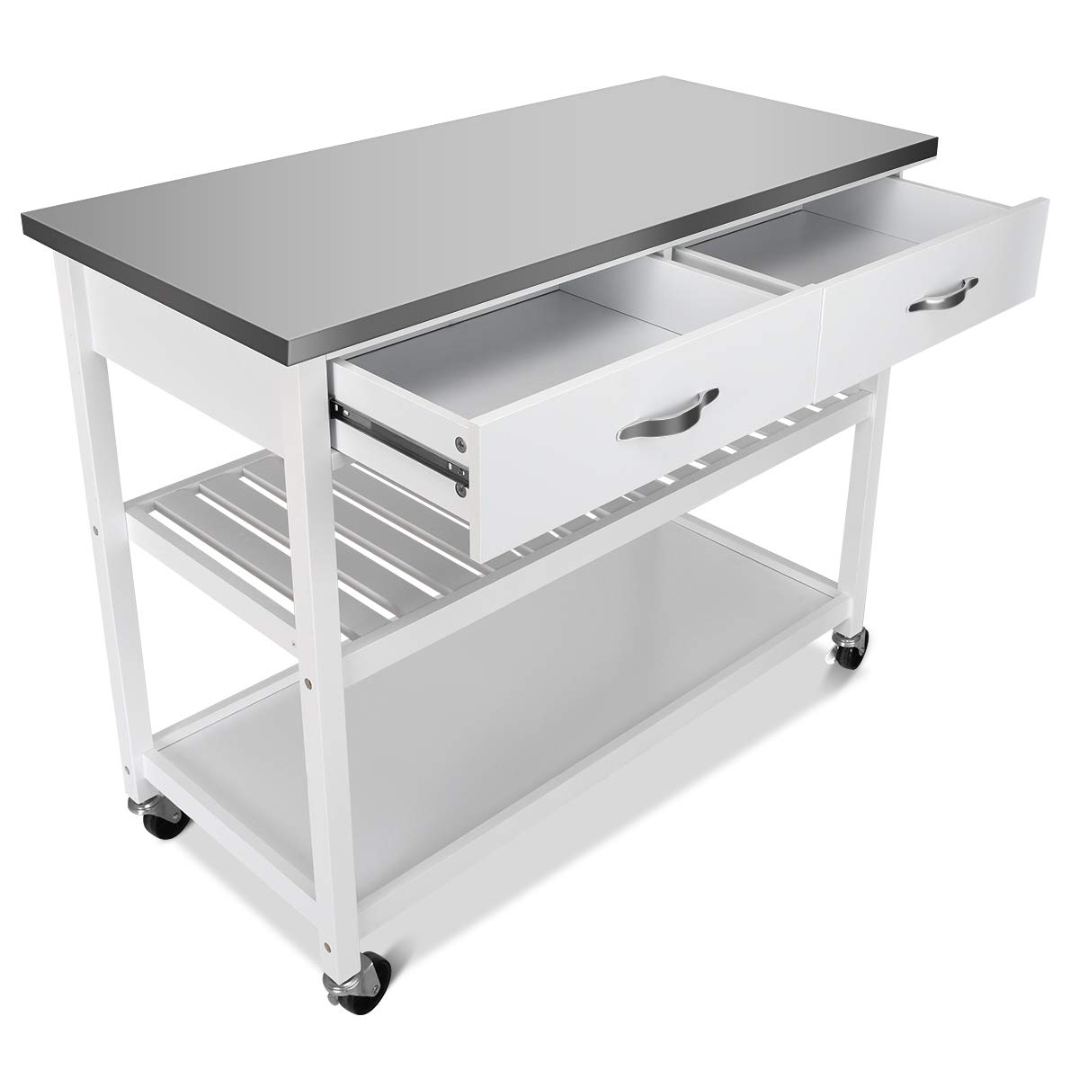 Giantex Kitchen Trolley Cart Rolling Island Cart Serving Cart Large Storage with Stainless Steel Countertop, Lockable Wheels, 2 Drawers and Shelf Utility Cart for Home and Restaurant, (White) by Giantex (Image #9)