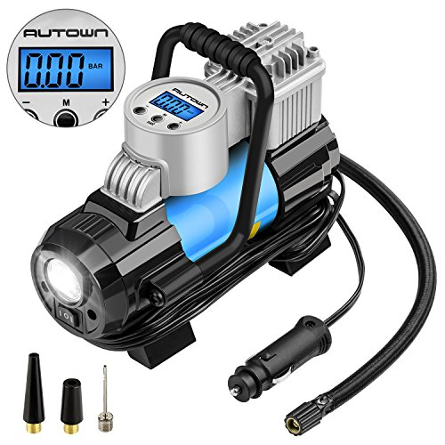 Portable Air Compressor Car (AUTOWN Portable Air Compressor Pump,12V Digital Tire Inflator with Air Flow up to 35L/min,4 Display Units,Preset Target Pressure Auto Shut-off,Extra Fuse for Overheat Protection and Progress Monitor)