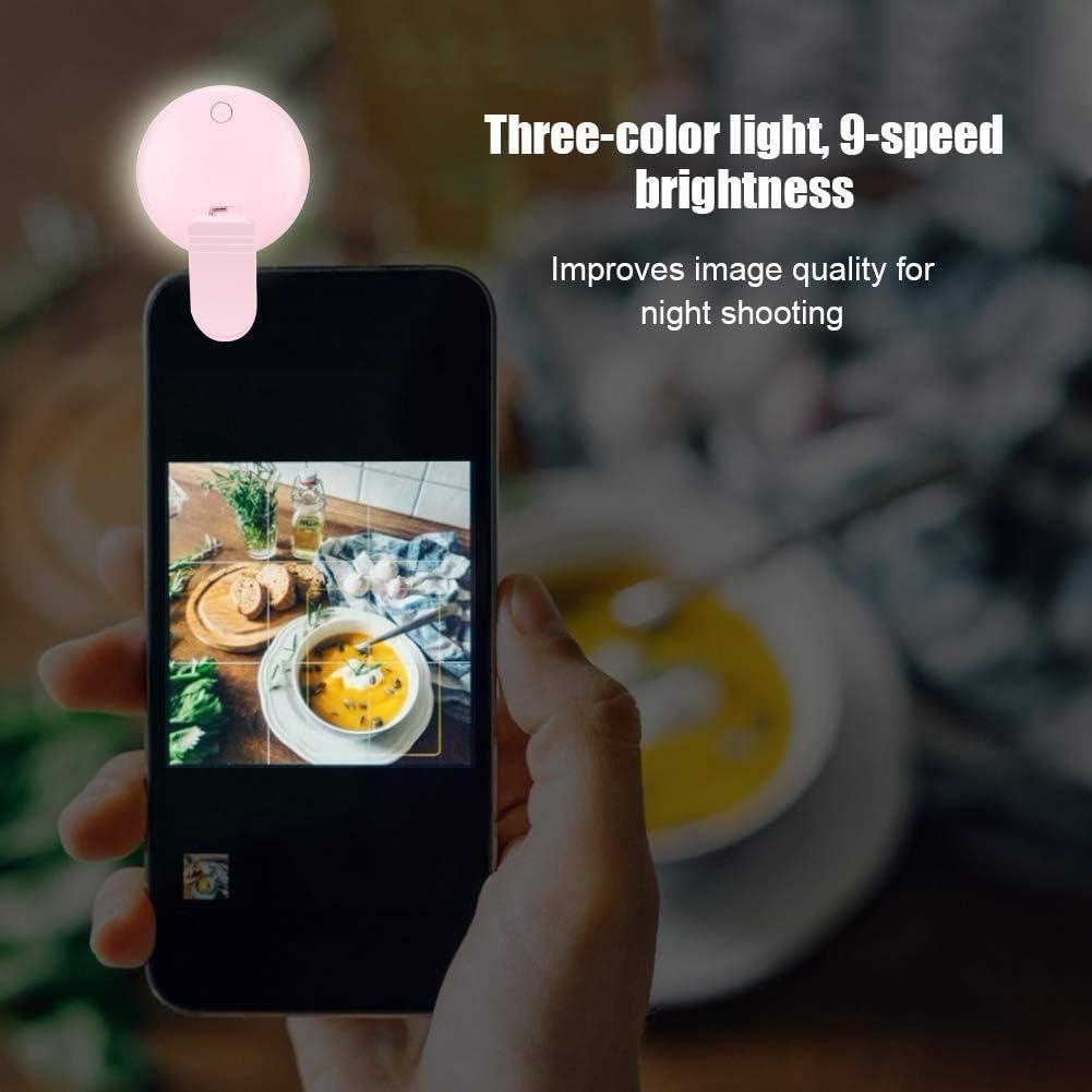 Live Broadcast etc. pink Mobile Phone Self-Timer Fill Light Mini Portable Self-Timer Artifact USB Charging 9-Speed Brightness Mobile Phone Selfie Artifact LED Ring Light Suitable for Self-timer
