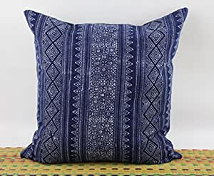 "18"" x 18"" Square Throw Pillow Cover made from Hmong Indigo Batik Hand Woven and Printed PI189"
