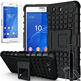 Sony Xperia Z3 Compact / Z3 mini, COVRWARE® 3 in 1 Bundle - Heavy Duty Terrapin Series Armor Protective Case with Kickstand [Free HD Film & Aluminum Sensitive Cap Stylus Pen] (Not Compatible with Regular Sony Xperia Z3) - Black