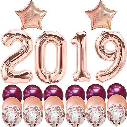 2019 Graduation Balloons-40 Inch Rose Gold 2019 Foil Balloons with Burgundy Rose Gold Latex Balloons/Confetti Balloons-Pack of 24,for Class of 2019 Decorations ()