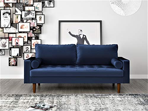 "Container Furniture Direct S5455 Mid Century Modern Velvet Upholstered Tufted Living Room Sofa, 69.68"", Space Blue"