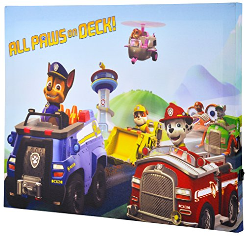 Paws Art (Edge Home Paw Patrol Vehicles 12-Inch-by-16-Inch Canvas Art with LED, Blue)
