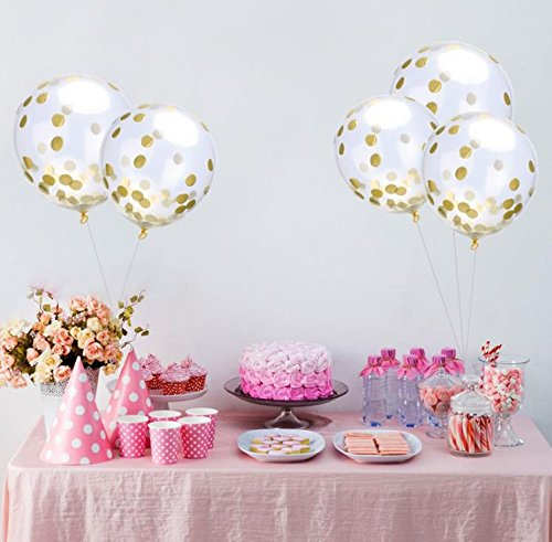 Party Balloons, ISUDA 12? Balloons With Golden Paper Confetti Dots For Party Decorations, Birthday Wedding & Proposal Decorations – 20 Pack