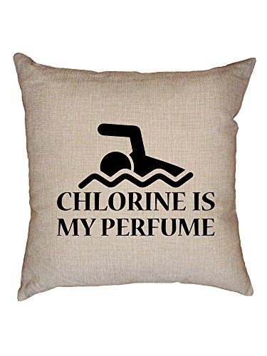 Hollywood Thread Chlorine Is My Perfume - Swimmer Swimming Graphic Decorative Linen Throw Cushion Pillow Case with Insert