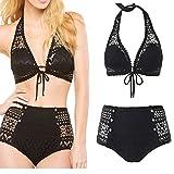 zoo york jeans - Walid-Sexy Bikinis Women Black Crochet Bikinis Swimwear High Waisted Swimsuit Brazilian Biquini Padded Push Up ( size M )